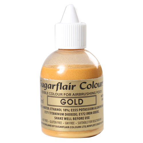 Foto: SUGARFLAIR - Colorante per aerografo oro 60 ml.